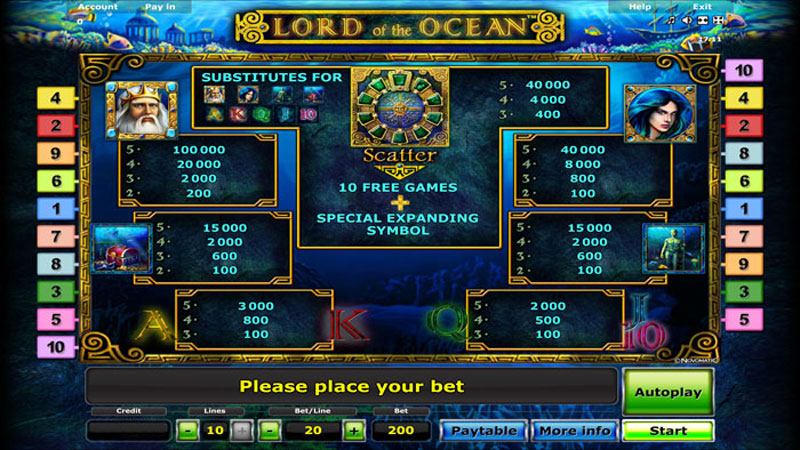 Lord Of The Ocean Paytable Screen